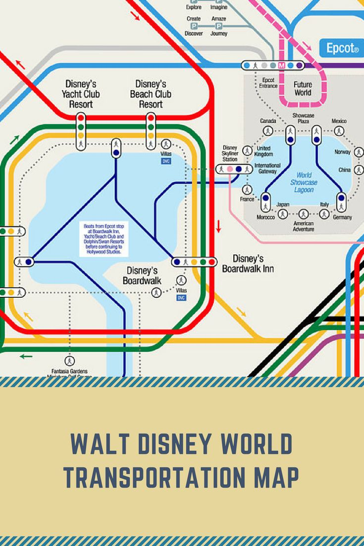 Unofficial map of the entire Walt Disney World transportation system done in a subway style, perfect to use for a trip to navigate and as artwork. #ad #disneyworld #waltdisneyworld #wdw #map #transportation