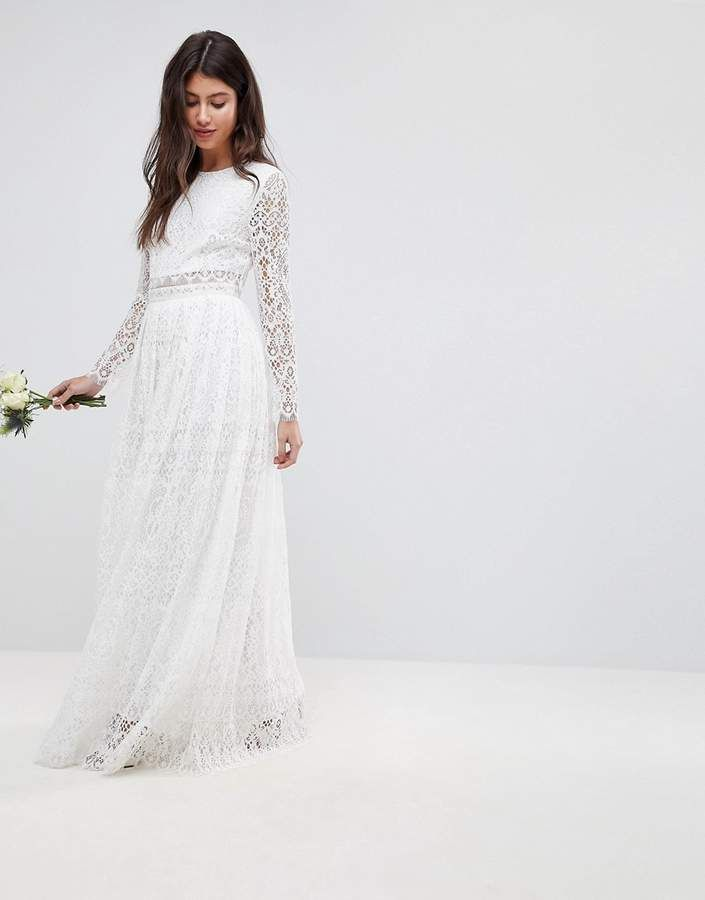 0a90ad530dac ASOS EDITION Lace Long Sleeve Crop Top Maxi #weddings #prairie #boho #Dress  #weddingdress