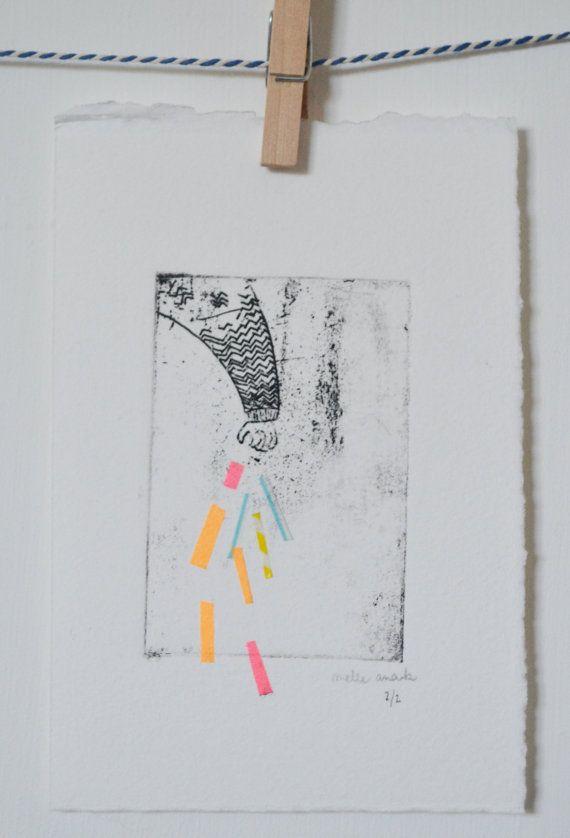fragile gravure à l'eau forte+collage engraving+collage