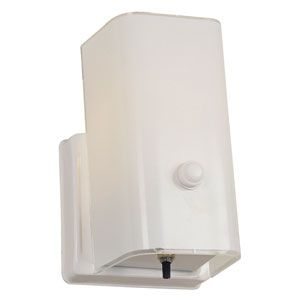Sunset Lighting Builders Bath One Light White Opal Glass Bathroom Wall Sconce With Turn Knob On