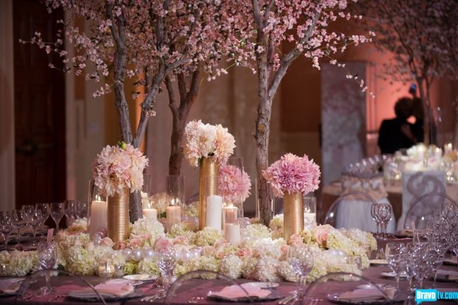 Tamras OC Wedding Photos | Tamra and Eddie's Wedding Album- The fairy tale ball room was accented with light pink flora and real cherry blossoms on the tables.