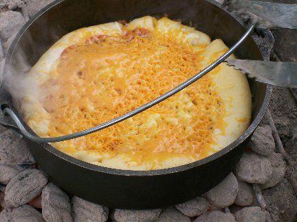 Pfannenpizza für Grill oder Lagerfeuer