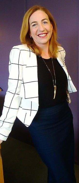Check pattern blazer, navy pencil skirt. Styling for 'The Cath Vincent Show', Sky TV, November 2014