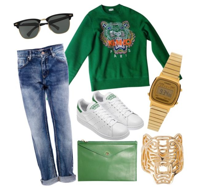 MISE AU VERT // GREEN TOUCH  #kenzo #adidas #stansmith #retro #vintage #casio #givenchy #rayban #pullandbear #boyfriendjeans #revival80 #outfitoftheday #lookbook #inspiration #ootd #boomerblogzine