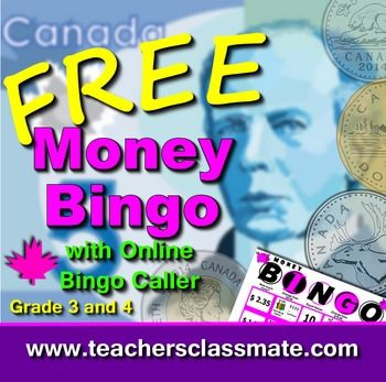 #Education #Games FREE - Canadian Money Bingo with Online Bingo Caller Math Centres Pack. Grade 3 and 4. Use online bingo caller to draw question cards and display called answers while students play along with their own bingo cards.