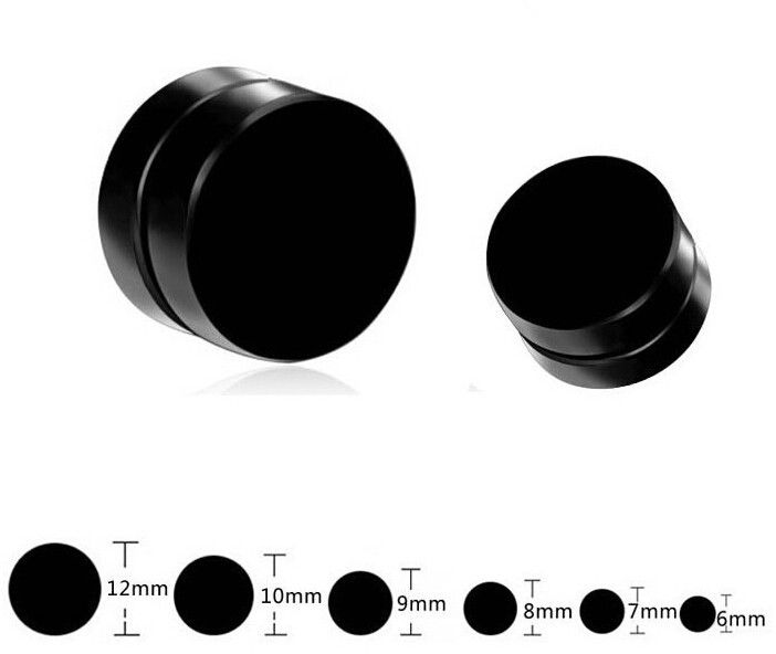 1PCS Black Non Piercing Clip On Ear Round Ear Stud Mens Women Fake Ear Plugs 6 10 12mm Punk No Pierced Magnetic Earrings For Men