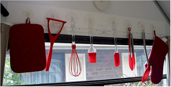utensils on hooks