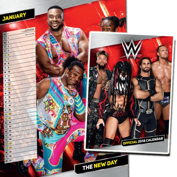 In this WWE 2018 official calendar, you can count down the days to the next RAW or SMACK DOWN event or just until your next holiday. The World Wrestling 2018 calendar features WWE superstars like John Cena,  Randy Orton, Seth Rollins, The New Day and many more.