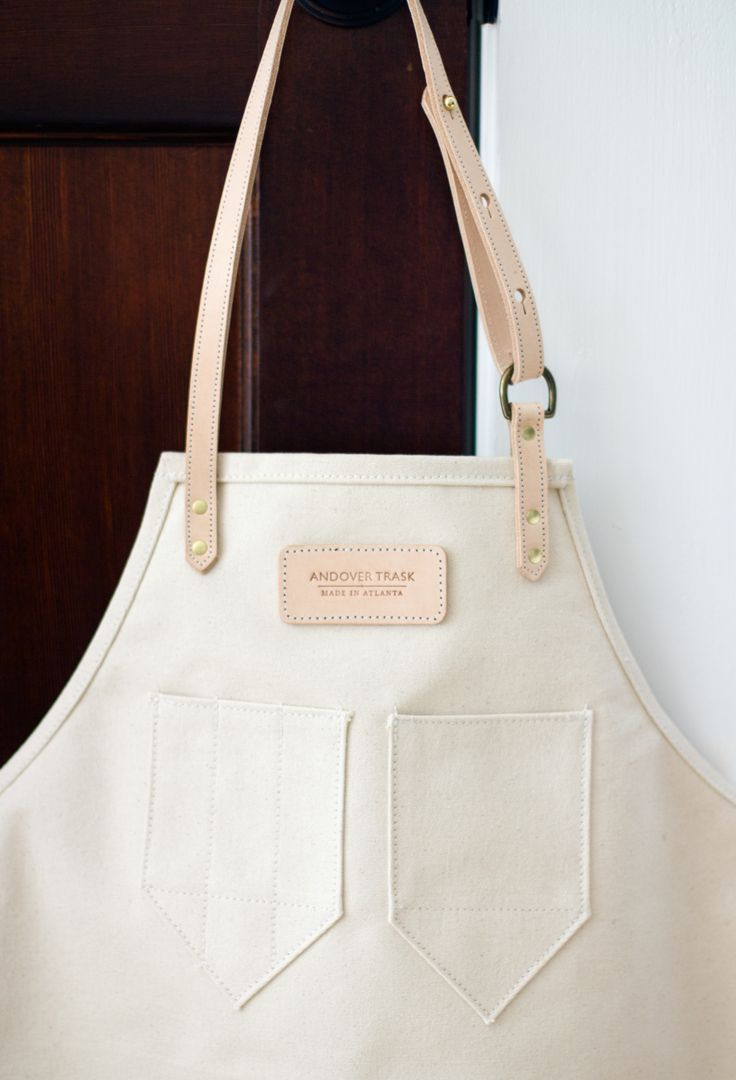 Natural Canvas + Leather Apron | Andover Trask