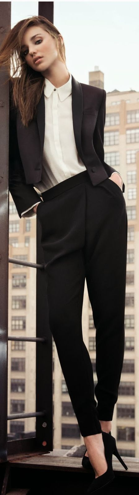 Fall / Winter - Spring / Summer - office wear - formal wear - party style - work outfit - business casual - black shawl collar cropped blazer + black pleated pants + white shirt + black stilettos