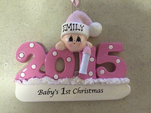 Personalized Baby's First Christmas Ornament 2015 - Pink/girl - http://www.christmasshack.com/christmas-ornaments/personalized-babys-first-christmas-ornament-2015-pinkgirl/
