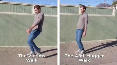 "One of my favorite episodes! The safest way to walk. ""Come at me muggers!!"""