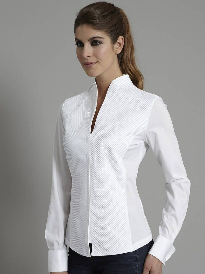 penelope pleat front stand collar shirt by the shirt company |https://itunes.apple.com/us/app/blisslist-easy-shopping-gifting/id667837070
