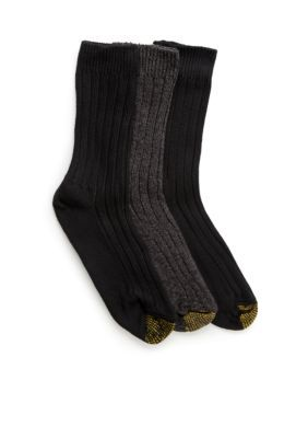 Gold Toe Women's Three Pair Weekend Crew Socks - Black - 9-11