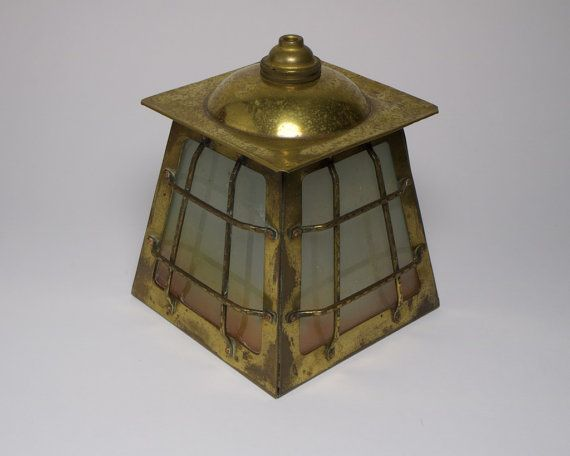 Antique 1930s Arts and Crafts brass and glass lantern