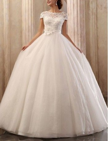 Tulle Bateau Neckline Ball Gown Wedding Dress with Cap Sleeves - Bridal Gowns - RainingBlossoms