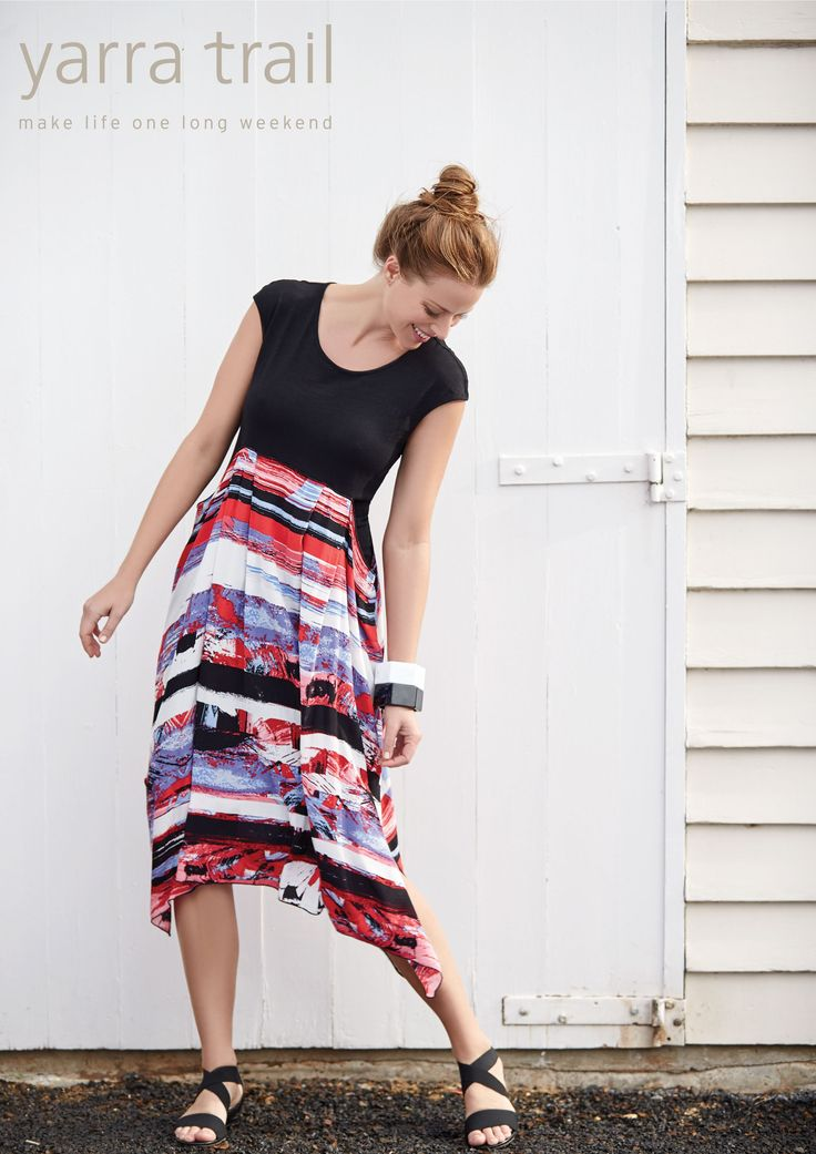 Dress in jubilance with the Spliced Draped Hem Dress. Sunset and ocean hues on a flow of comfort from the waist down, this matchless piece will surely bring elation yet poise into your fun but classy style. www.yarratrail.com.au