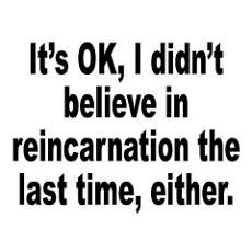 Reincarnation humor -- if I forget this time around, I promise to do it next lifetime...promise! lol