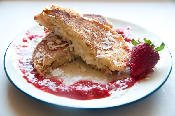 Coconut Crusted Mascarpone Stuffed French Toast with Strawberry Sauce