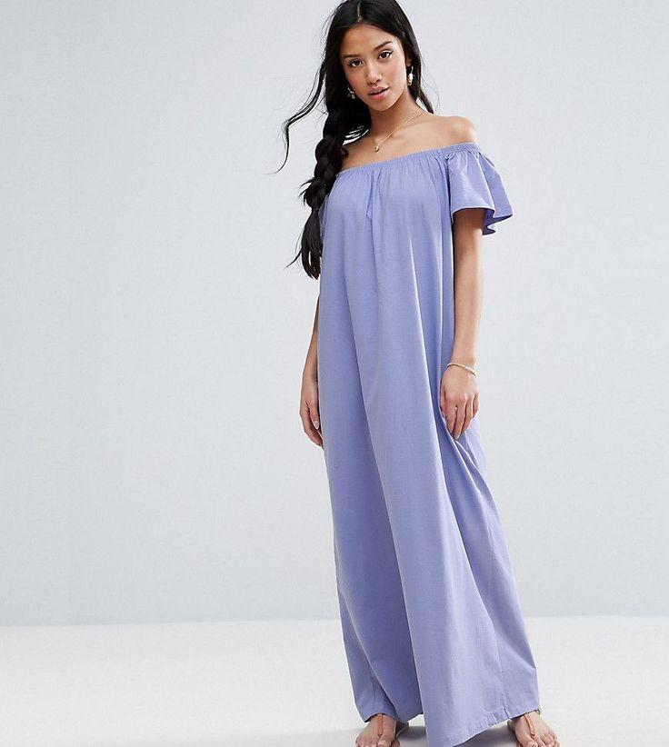 ASOS PETITE Off Shoulder Maxi Dress - Purple