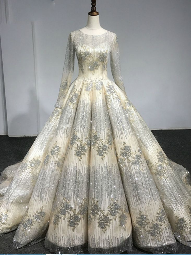 Long Sleeve Luxury Diamond Sparkly Wedding Dress