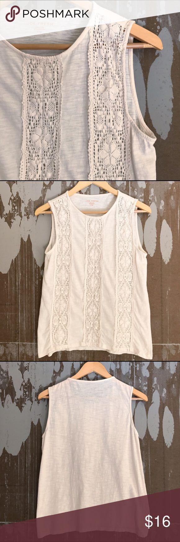 "Joe Fresh Ivory Simple Neutral Lace Top Sz Small Very sweet Joe Fresh ivory lace top! Neutral to carry you through every season, layer it, accessorize it, love it! Great texture and details. Size Small. Underarm to underarm: 19"" Length: 23.5"" Gently pre-owned, no flaws. Joe Fresh Tops"