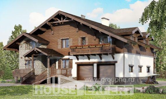 440-001-R Проект на триетажна къща с мансарда и гараж, класически от пеноблокове