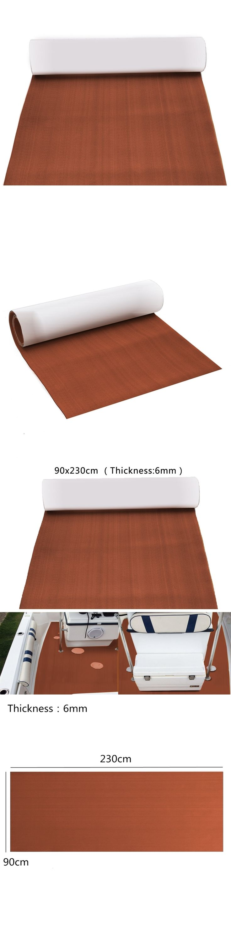 90x240x0.6cm Pure Dark Brown EVA Foam Teak Deck Sheet Self Adhesive Boat Yacht Synthetic Decking Foam Floor Mat