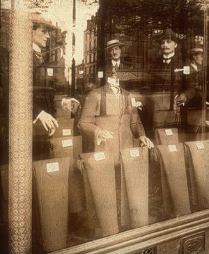 "Eugène Atget (1857–1927) ""In the 1920s, Atget was heralded by Man Ray and the Surrealists for his photographs of window displays that melded reflections of the street with artifacts for sale, and for his pictures of places that seemed like so many theatrical stages pregnant with imminent action."""