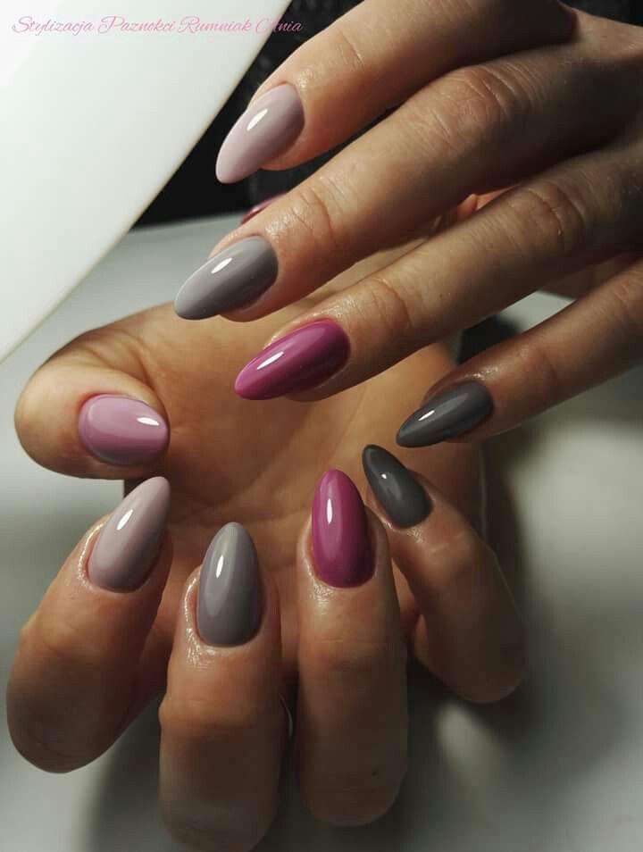 Rosa und graue Nägel