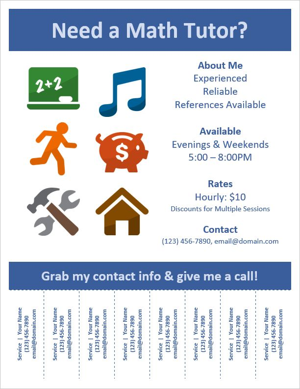Help Wanted Flyer Template Tear Off Flyer Templates For Word  Help Wanted Template Word