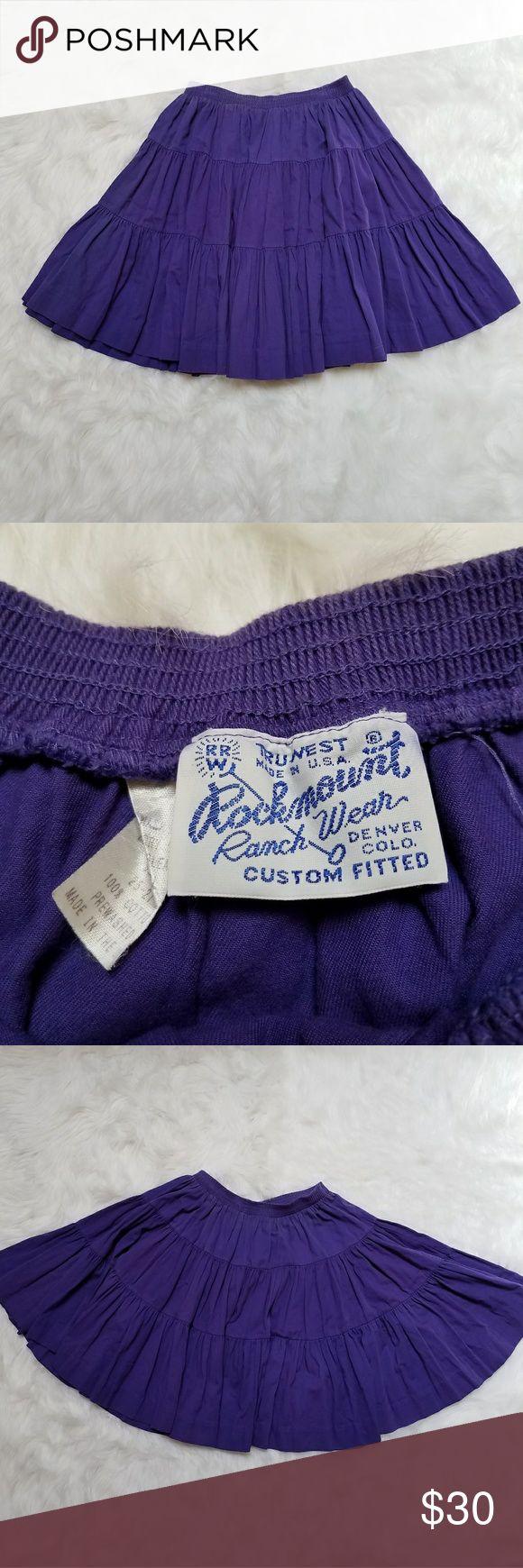 Vintage Rockmount Ranch wear skirt Vintage Rockmount Ranch wear purple rodeo skirt, waist measures 24, elastic waistband, lined, full skirt, made in Denver, CO USA, women's or girl's, state fair county fair or farm style Rockmount Ranch wear Skirts