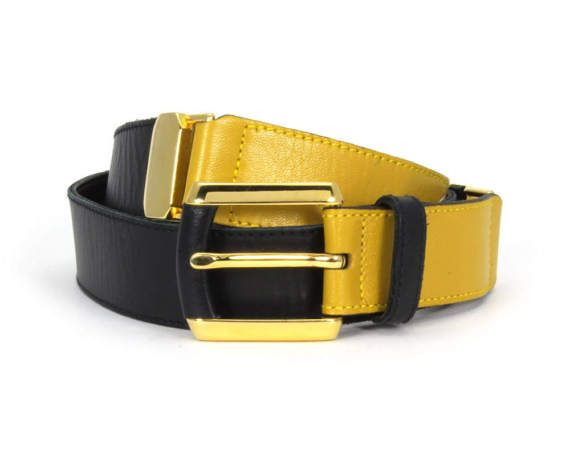Mondi Vintage 1980s Color Blocked Slim Belt Navy Mustard