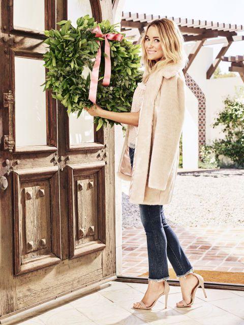 A faux-fur topperis stylish over jeans —and way prettier thana parka if you'rewearing a dress. Coat, LC Lauren Conrad, $90,kohls.com. Top, $50, zara.com.Jeans, $198, dl1961.com.Heels, Steve Madden,$79, zappos.com.