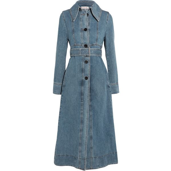 MarniBelted Denim Coat (€1.035) ❤ liked on Polyvore featuring outerwear, coats, blue, marni coat, marni, flared coat, denim coats and flare coats