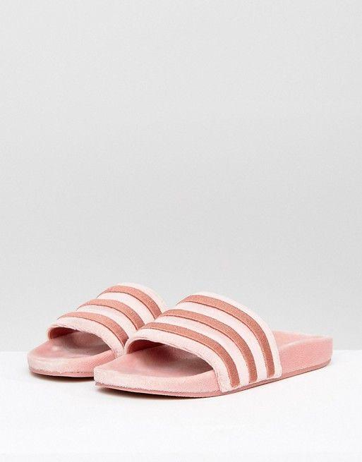 bd28b0641fedb1 Adidas Raw Pink Velvet Slides