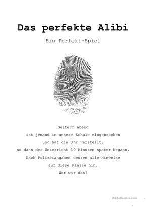 Spiele im Deutschunterricht: Das perfekte Alibi (Perfekt ...