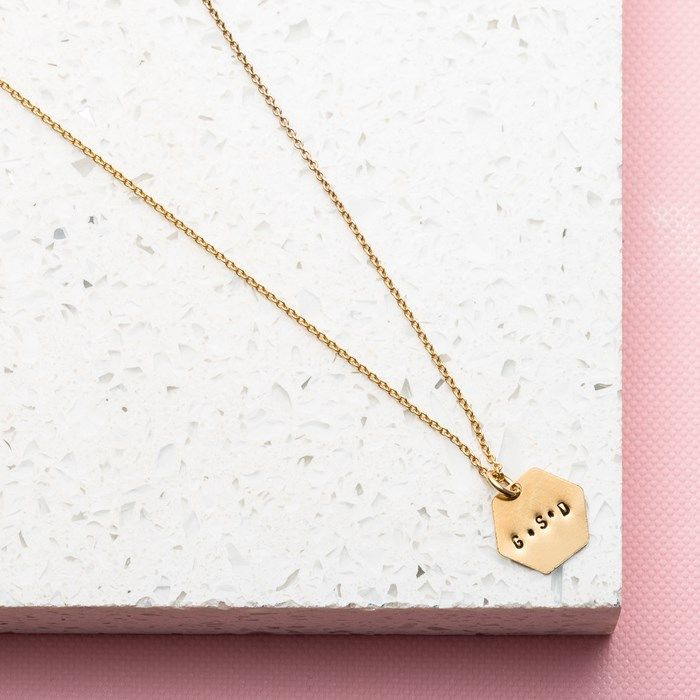 Personalised Posh Totty Designs Hexagon Necklace | GettingPersonal.co.uk
