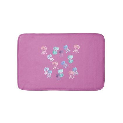 Jellyfish Small Bath Mat - watercolor gifts style unique ideas diy