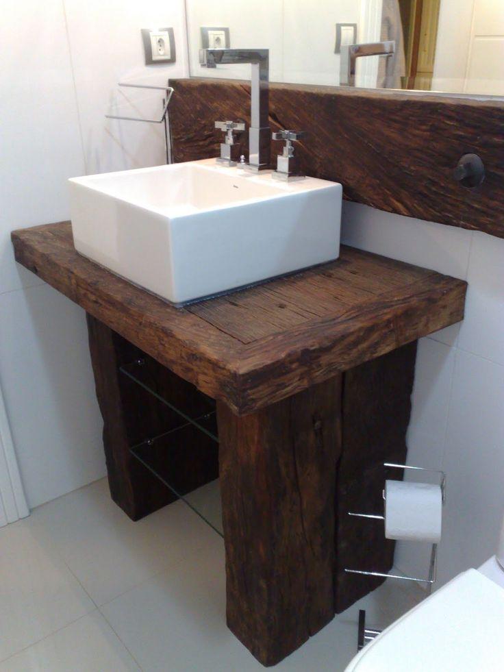 madeira de demolição- casa de banho com muito estilo rustico/moderno
