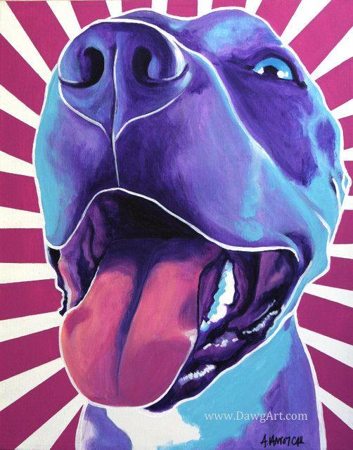 Colorful Pet Portrait Pit Bull Art Dog Print 8x10 by dawgpainter, $14.00