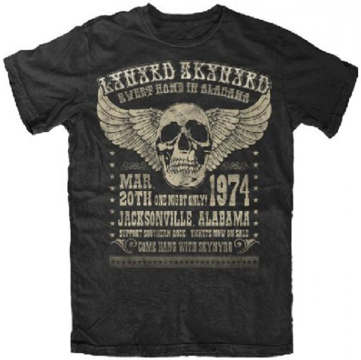 Our Lynyrd Skynyrd tshirt spotlights the artwork from the promotional poster for the Southern Rock band's March 20, 1974 Jacksonville, Alabama show. A one-night only show, this Lynyrd Skynyrd concert