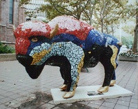 Buffalo businesses purchase and decorate Buffaloes to display with the proceeds going to Roswell Park Cancer Institute, a premier Cancer Center located in Buffalo.