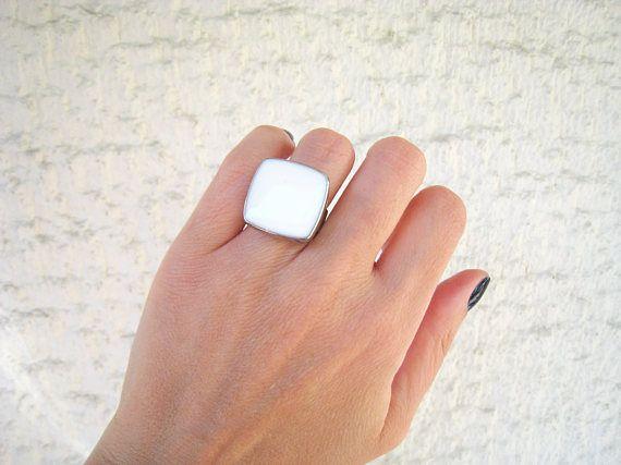 White ring white statement ring white resin ring alabaster