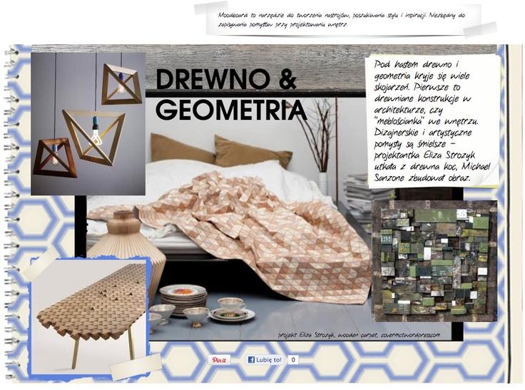 drewniane elementy we wnętrzu, niespotykany drewniany koc, geometryczna drewniana lampa i stół z drewnianych klocków