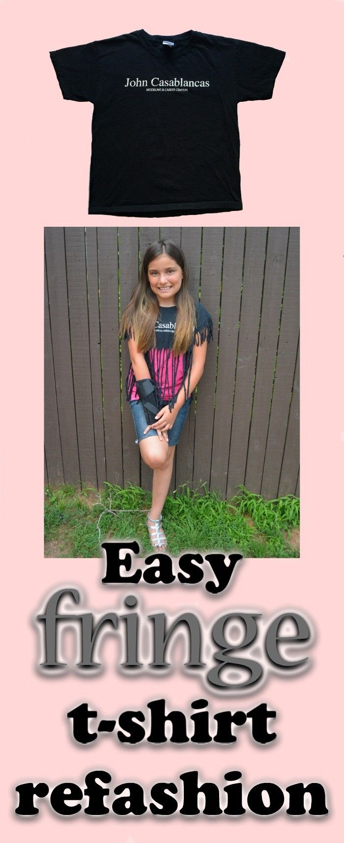 DIY Fringe T-shirt Refashion |Easy Tween Craft