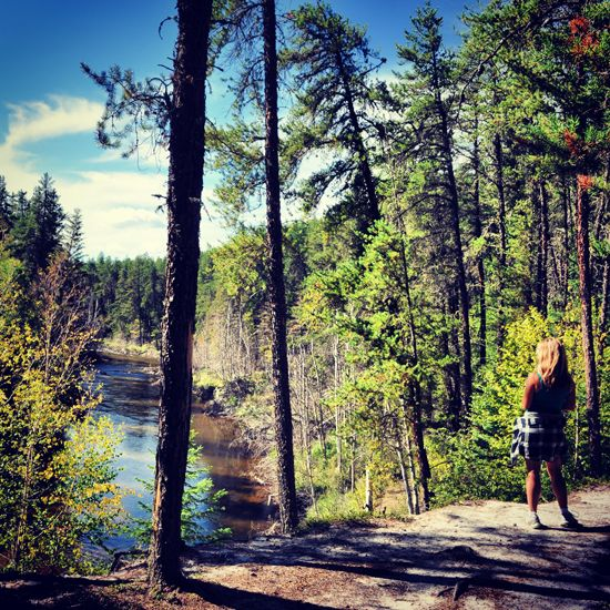 Taking in the view during a hike to the Nipekamew Sand Cliffs (located near La Ronge, Saskatchewan).