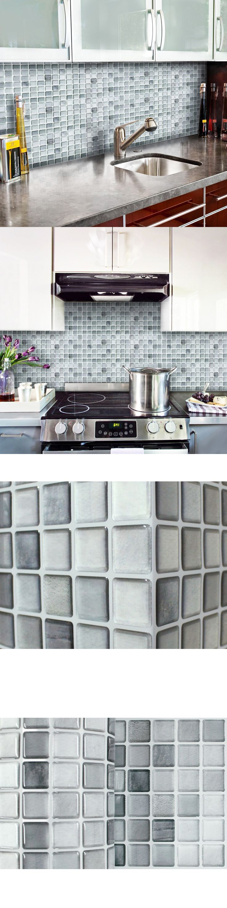 Floor and Wall Tiles 45800: Self Adhesive Wall Tiles Peel And Stick Backsplash Kitchen Bathroom Gray Silver -> BUY IT NOW ONLY: $43.94 on eBay!
