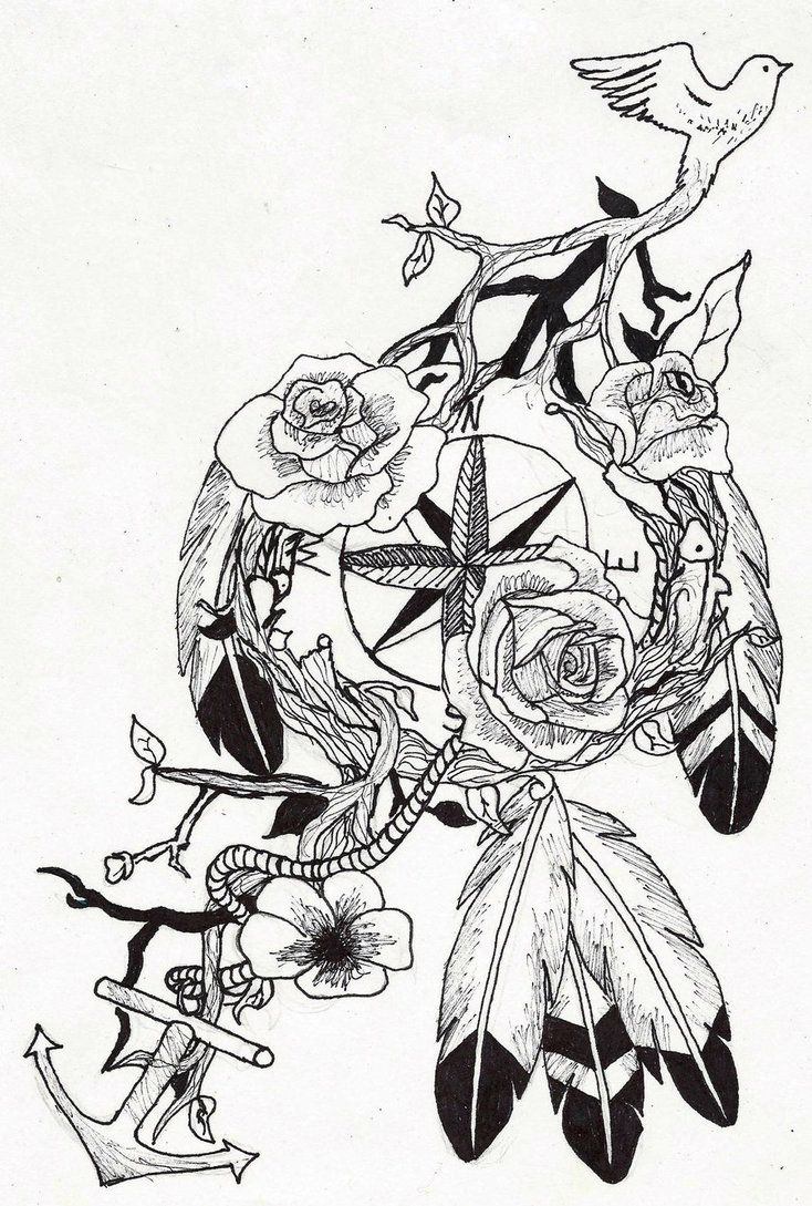 nike basketball t-shirt sayings compass dream catcher tattoo by ~wolfluv95 on deviantART want something like this but no bird branches or anchor. instead an actual dreamcatcher with the flowers and compass