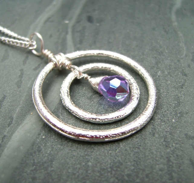 Valentine Silver Circle Crystal Pendant Necklace £19.00
